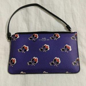 Purple Floral Coach Wristlet Wallet